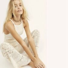Free People Moon Bay Crochet Lace One Piece Jumpsuit Overall Ivory Small S New