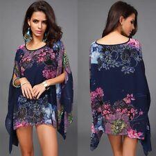 D426 Plus size Bat Blue flowers print Chiffon Sexy beach Blouse Dress