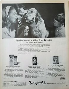 Lot of 3 Vintage 1964 Sergeants Flea Collar Worm Away Print Ads