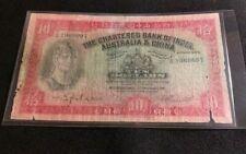 Hong Kong 1941 $10 Dollar Chartered Bank of India Australia and China RARE NOTE