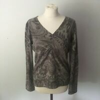 Peter Hahn Silk & Cashmere Womans Jumper Pullover, Size 12, Grey Floral Pattern