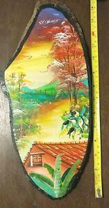 Handpainted Colorful Asian Woodland Scene on Wood by artist El Salvan 2001