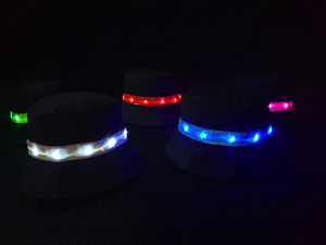 Light-up Black Bucket Hat LED Flashing Hate Festival Party Rave Various Colours