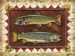 "framed brook brown trout fish fishing ceramic tile mural backsplash 12""x18"""