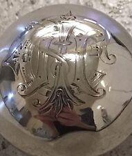 Hallmarked silver couvercle en verre bouteille de parfum antique monogramme vintage