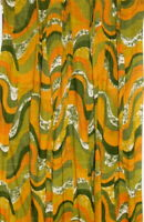 """Vtg Mid Century Modern Green Gold Orange Panel Pinch Pleat Curtains 76"""" x 24"""""""