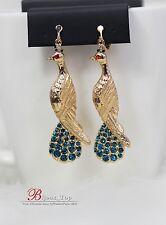 Boucles d`Oreilles Clips Paon Mignon Bleu Original Vintage Oiseau EE 4