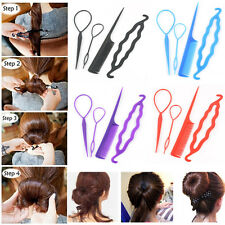 4pc Magic Women French Hair Twist Styling Clip Stick Bun Comb Maker Random Color