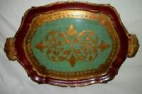 Italian Florentine Gilt Aqua Green Red Wood Tray Handles Mid Century Regency Lg
