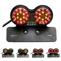 Motorcycle Twin Dual Tail Turn Signal Brake License Plate Integrated LED Light