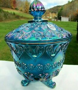 "Fenton Blue Carnival Glass Baroque Footed Covered Candy Dish 7""H x 5""W"