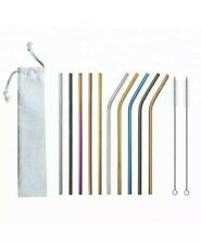 Multi Color Metal Stainless Steel Reusable Straws 12pc