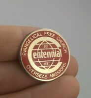 Vintage Evangelical Free Church 1987 Overseas Missions pinback button pin *EE91