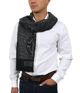 Roberto Cavalli ESZ056 05001 Grey Wool Blend Leopard Print Mens Scarf