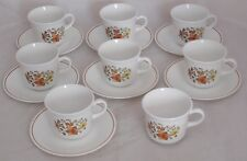 Vintage 15 Pc Set Corelle by Corning Ware 8 Cups & 7 Saucers Indian Summer