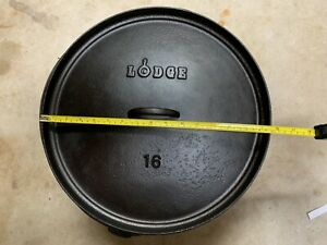 Rare Collectible LODGE #16 CO Cast Iron Camp Dutch Oven Discontinued 16 inch