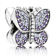 New Genuine Pandora Silver Purple Sparkling Butterfly Charm Bead 791257ACZ