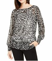 Alfani Women's Blouse Black White Size Large L Printed Smocked-Hem $69 #365