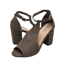 Women's Shoes Qupid EDEENA 02 Peep Toe Perforated Sandal Heels CHARCOAL *New*