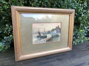 Old Watercolour painting sailing boats shipping scene Antique gold frame Signed✨