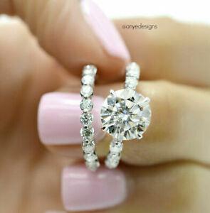 Women's 2CTW Round Cut gorgeous Wedding Engagement Ring Set 14k White Gold...