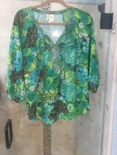 Medium New ANTHROPOLOGIE FIG & FLOWER TUNIC BOHO PEASANT TOP BLOUSE FLORAL