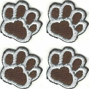 Lot of 4 Brown White Dog Animal Paw Print Embroidery Patch