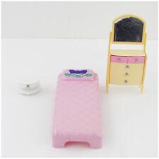 Barbie Mattel Bedroom Plastic Furniture Bed Dresser Night Table 1990's