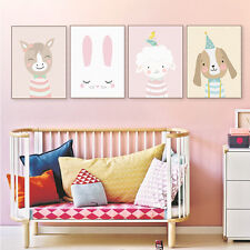 Kawaii Bear Deer Rabbit Posters Nordic Baby Kids Room Wall Decor Canvas Painting