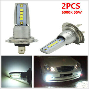 2pcs 6000K 55W H7 White LED Bulb Canbus Car SUV Headlight Fog Light Lamp 15000LM