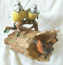 "Adorable Duncan Royale porcelain Three Birds on a Log figurine-6 1/8"" tall!"