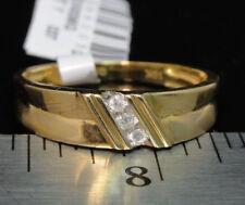 Genuine Diamond & 10k Yellow Solid Gold Men's Wedding Anniversary Ring Band New