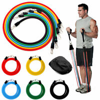 11pcs Exercise Resistance Band Set Yoga Fitness Pilates Workout Crossfit Bands