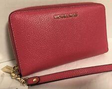 NEW Michael Kors Gold Rose Pink Pebble Leather Flat Multi Phone Wristlet Wallet