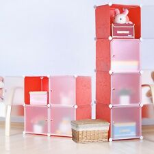 DIY Home Storage Cube Cabinet for Clothes, Shoes, Bags, Office, Red (4) Cubitbox