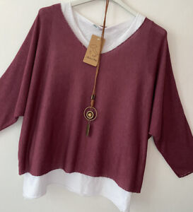 New Made In Italy 2 In 1 Soft Loose Batwing Lagenlook Top Jumper One Size 8-14