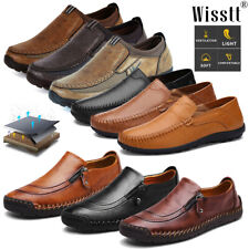 Mens Slip On Leather Zipper Casual Driving Shoes Deck Loafers Moccasins Trainers