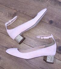 New JCrew $218 Contrast Glitter Heels in Suede Sz 5 Petal Pink f4978