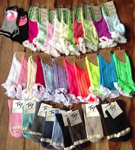 Lace Frill Ankle Socks Plain & Pattern School College Dance Ladies Girls Trainer