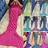 Adult Kids Mermaid Tail Sofa Bed Blanket Super Warm Hand Crocheted Knitted Gifts