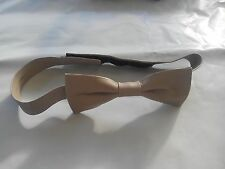 Men's Bow Tie in a Beige Faux Leather Fabric