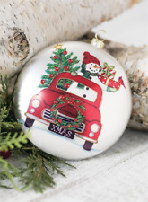 """Snowman, Christmas Tree in Red Truck Glass Disc Christmas Ornament  5"""" Diameter"""