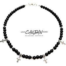Onyx Stainless Steel Cross Choker Necklace Summer Bohemian Gypsy Hippie Style
