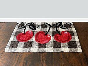 Washable Cherries On Checks Indoor And Outdoor Accent Area Floor Mat