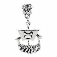 Viking Ship Pirate Boat Norse Longship Dangle Charm for European Bead Bracelets