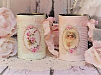 Shabby Chic Vintage Decorative Painted Decoupage Tin Cans, Lace Trim/Roses Set