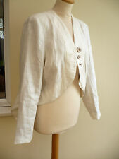 LINEN JACKET & LONG TAILS SIZE 16 BY TAILLISSIME LACED AT BACK LINED CREAM BNWT