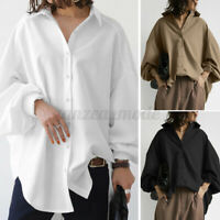 Womens Collared Long Sleeve Top Button Down Casual Loose Shirts Tee Tunic Blouse