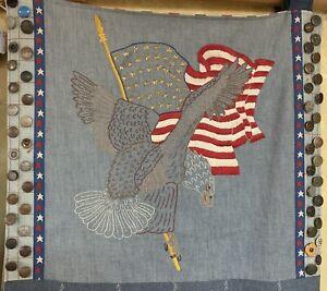 Vintage Americana Denim Folk Art Collage Levi's Wrangler More Labels Hanger