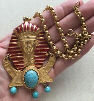 Castlecliff Sphinx Necklace Egyptian Revival Pharaoh Vintage Gold-Tone 17""